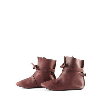 Plus Size Self Tie PU Leather Ankle Boots - DEEP BROWN EU 42