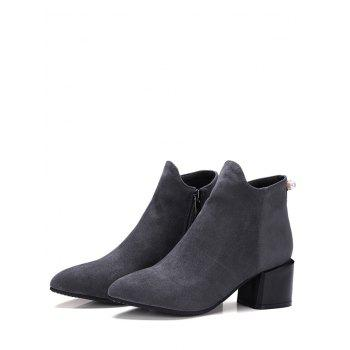 Plus Size Pointed Toe Faux Pearl Ankle Boots - GRAY EU 37
