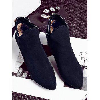 Plus Size Pointed Toe Faux Pearl Ankle Boots - BLACK EU 42