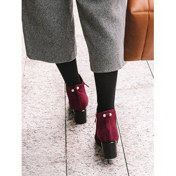 Plus Size Pointed Toe Faux Pearl Ankle Boots - RED WINE EU 36