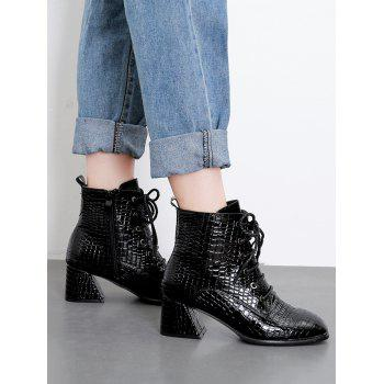 Crocodile Print Block Heel Ankle Boots - BLACK EU 37