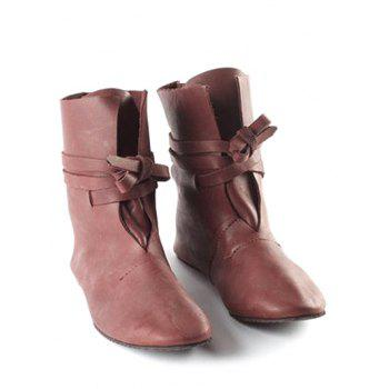 Plus Size Self Tie PU Leather Ankle Boots - DEEP BROWN EU 40