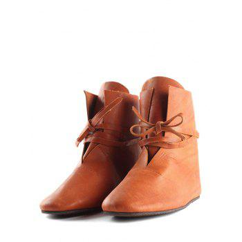 Plus Size Self Tie PU Leather Ankle Boots - LIGHT BROWN EU 36