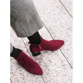 Plus Size Pointed Toe Faux Pearl Ankle Boots - RED WINE EU 38