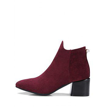 Bottines en fausses perles à bout pointu - Rouge Vineux EU 37