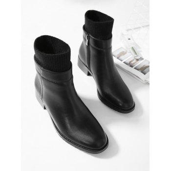 Knitted Sock Insert Ankle Boots - BLACK EU 38