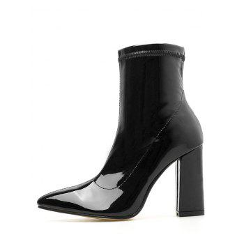 Pointed Toe Patent Leather Short Boots - BLACK EU 37