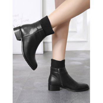 Knitted Sock Insert Ankle Boots - BLACK EU 40