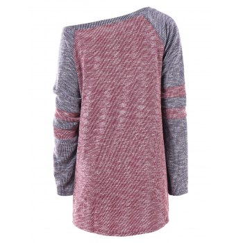 Hit Color Skew Neck Long Knitwear - RED WINE M