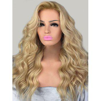 Inclined Bang Wavy Long Party Synthetic Wig - BLONDE