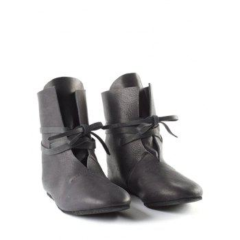Plus Size Self Tie PU Leather Ankle Boots - BLACK EU 40