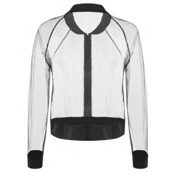 Zip Up Sheer Mesh Jacket - BLACK M