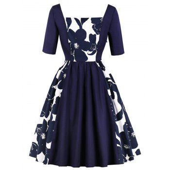 Retro Square Collar Floral Print Pin Up Dress - DEEP BLUE L