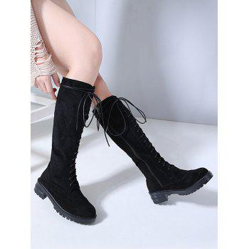 Lace Up Suede Knee High Boots - BLACK EU 36