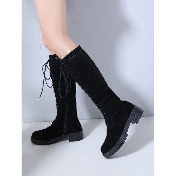 Lace Up Suede Knee High Boots - BLACK EU 38