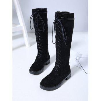 Lace Up Suede Knee High Boots - BLACK EU 37