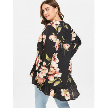 Floral Print Long Sleeve Asymmetrical Tunic Blouse - BLACK 2X