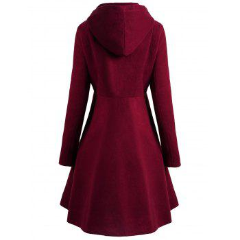 Plus Size Button Up Flare Coat - RED WINE 4X