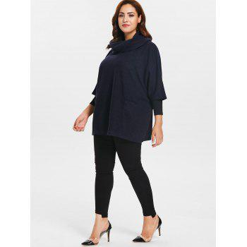 Plus Size Cowl Neck Front Pockets Pullover Coat - DEEP BLUE ONE SIZE