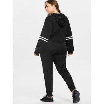 Plus Size Striped Workout Suit - BLACK 4X