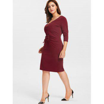 Plus Size Lacing Waist Tee Dress - RED WINE 1X