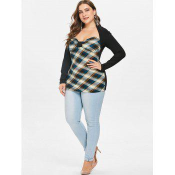 Long Sleeve Plus Size Plaid T-shirt - BEE YELLOW 3X
