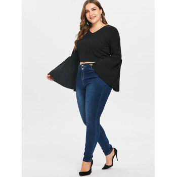 Plus Size Trumpet Sleeve Crop Blouse - BLACK 3X