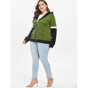 Plus Size Patchwork Zip Up Hoodie - FERN GREEN 4X