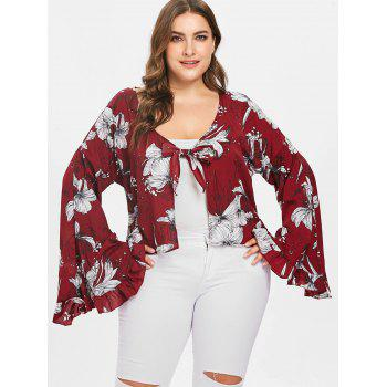 Plus Size Floral Print Flare Sleeve Blouse - RED WINE 2X