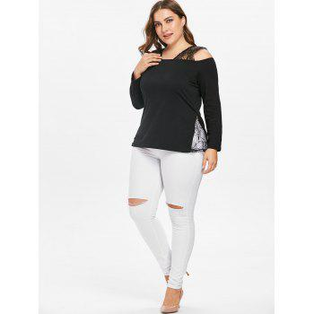 Plus Size Lace Panel Open Shoulder T-shirt - BLACK 3X
