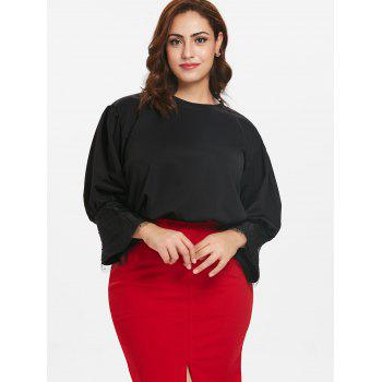 Round Neck Plus Size Lace Panel Top - BLACK 3X