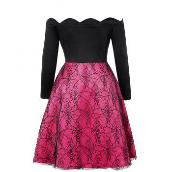 Plus Size Spider Web Lace Halloween Vintage Dress - BLACK 1X