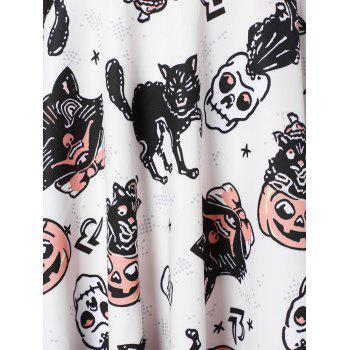 Long Sleeve Plus Size Printed Halloween A Line Dress - multicolor 5X