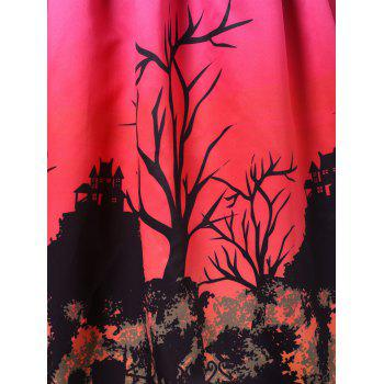 Plus Size Halloween Bat and Star Print A Line Dress - multicolor 4X