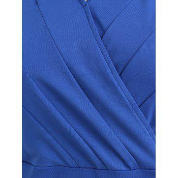 Plus Size Sheath V Neck Dress - BLUEBERRY BLUE L