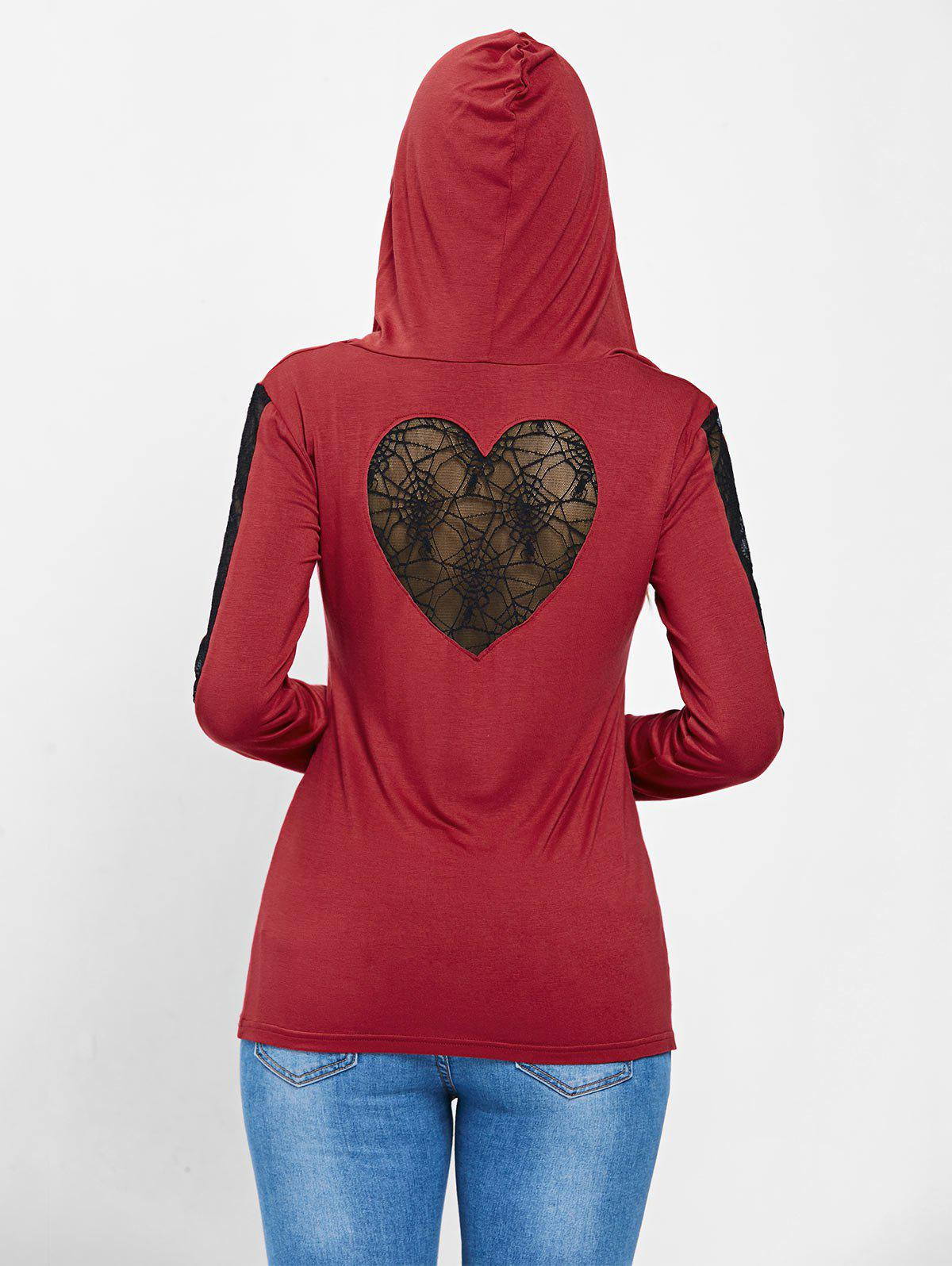 Spider Lace Long Sleeve Halloween Hooded T-shirt - RED XL