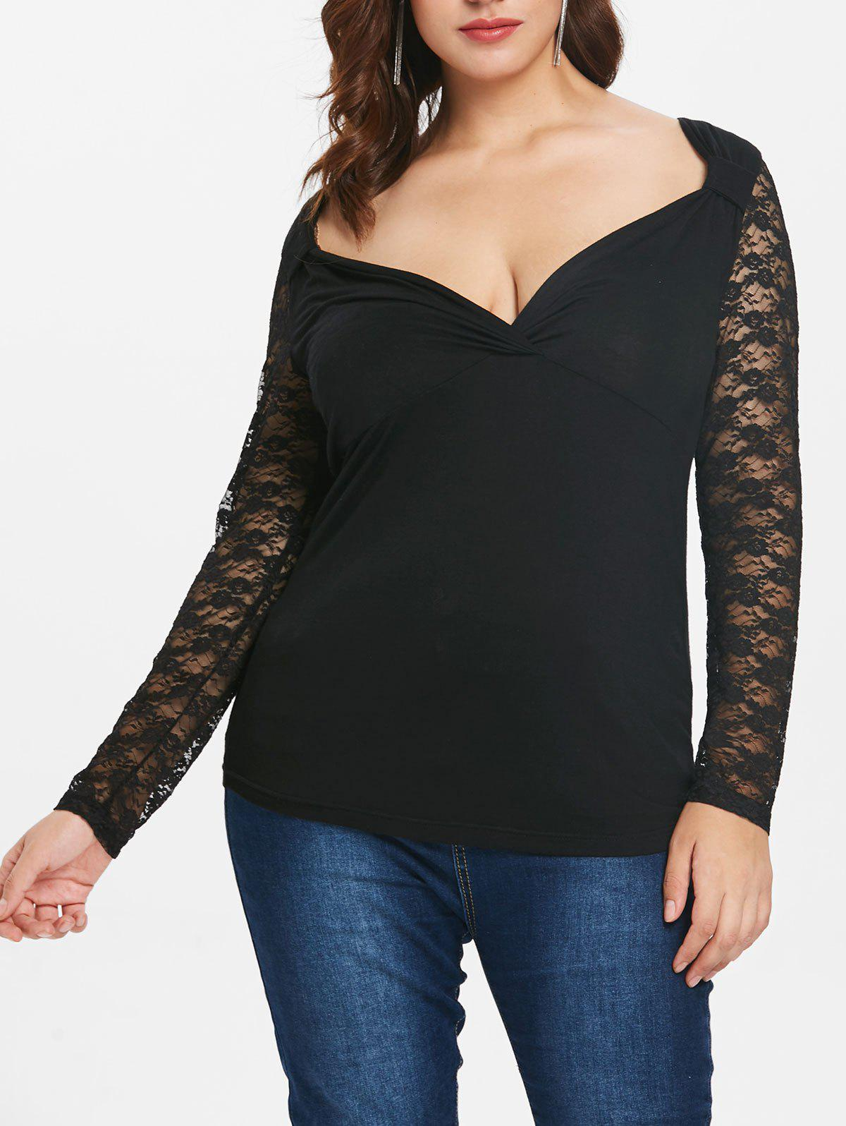 Plus Size Surplice Top with Lace Insert - BLACK 4X