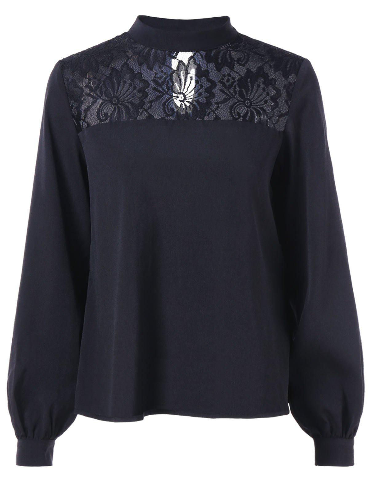 Floral Lace Panel Puff Sleeve Blouse - BLACK M