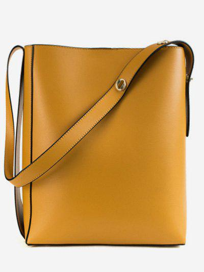 2 Pieces Bucket PU Leather Crossbody Bag Set - YELLOW