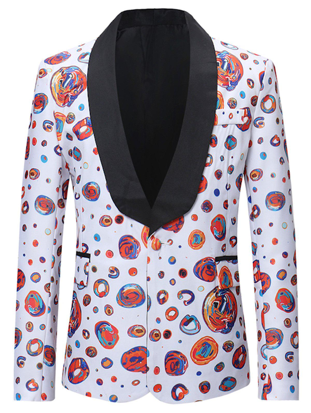 Colorful Dot Pattern Flap Pocket Design Blazer - multicolor M
