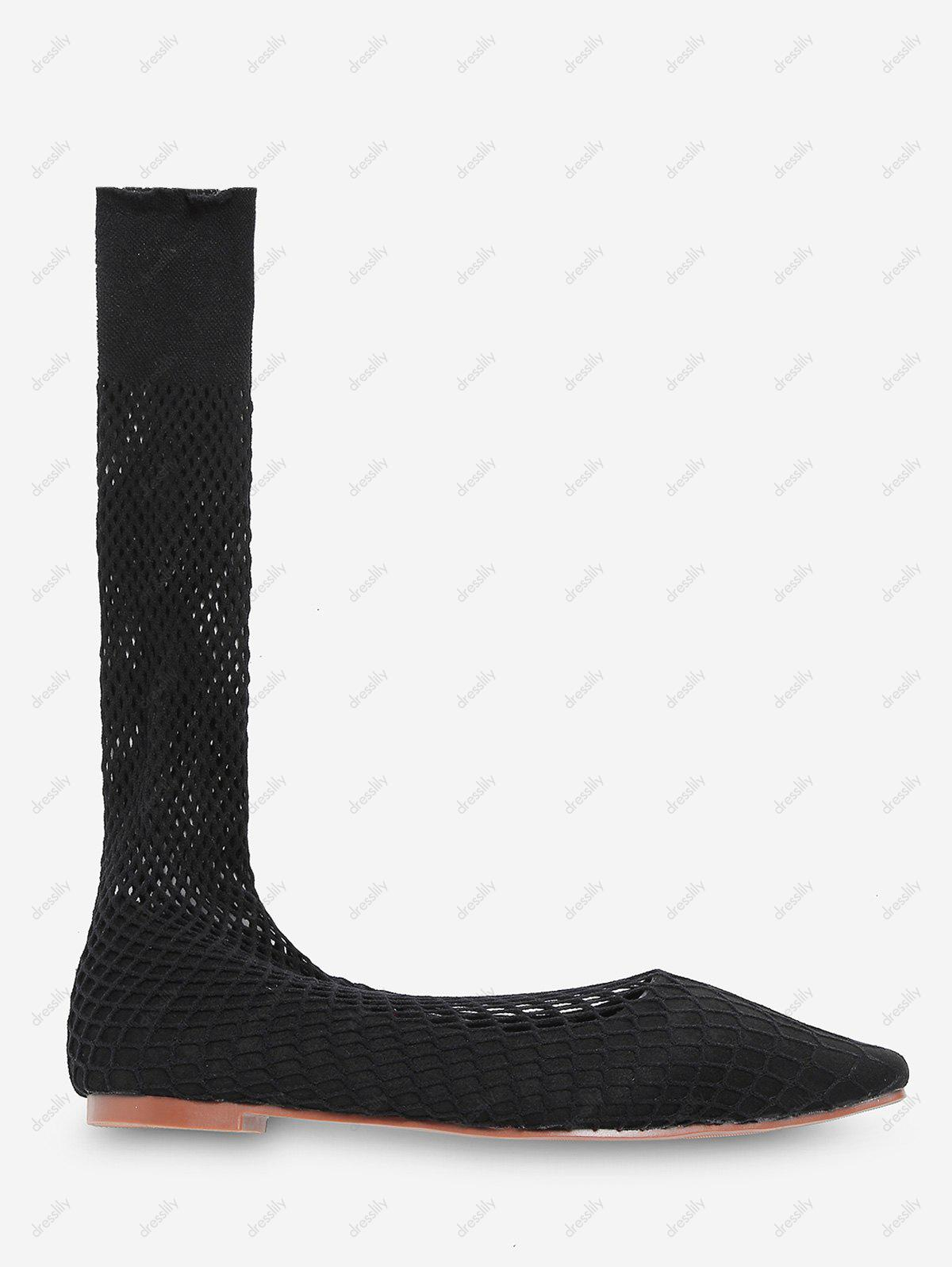 Fish Net Mid Calf Flat Sock Boots - BLACK EU 37