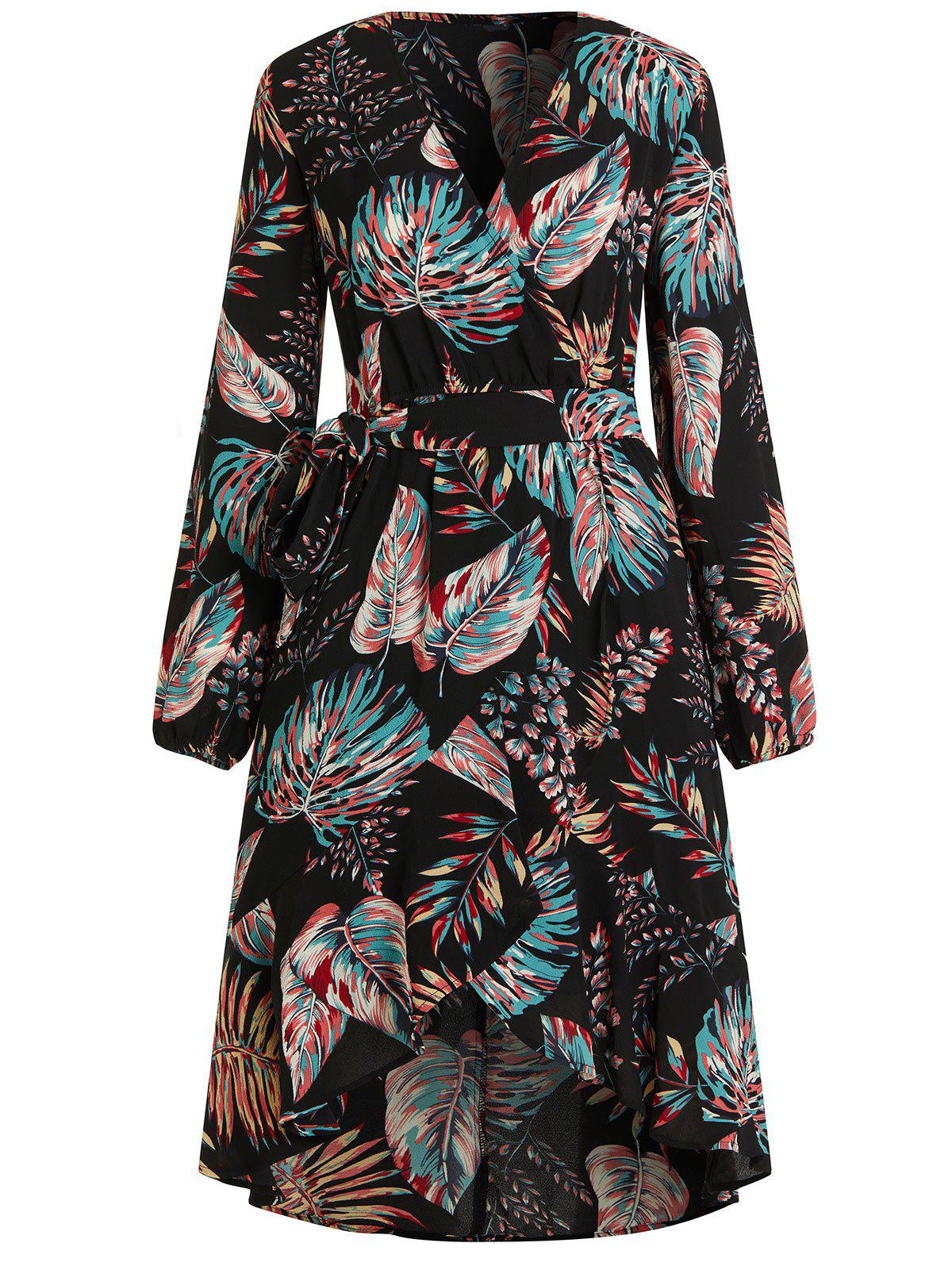 Plant Print V Neck Midi Wrap Dress