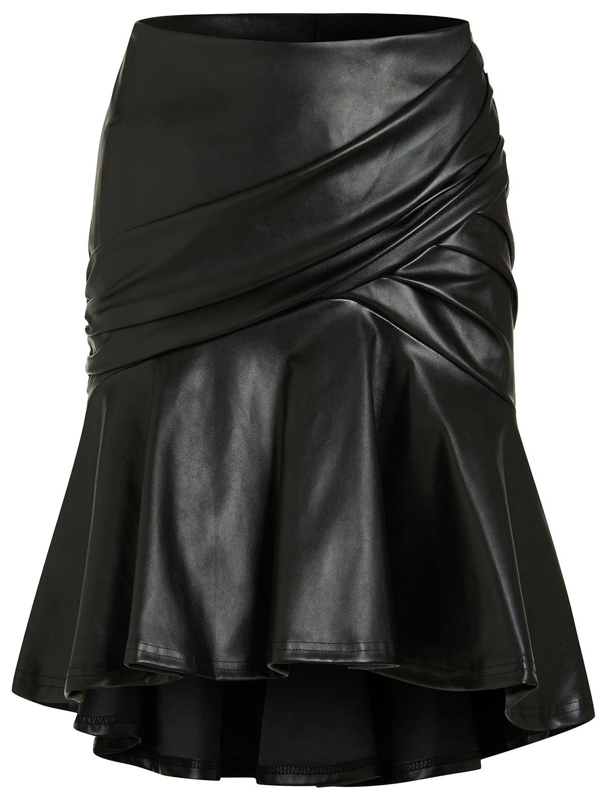 PU High Low Flounce Mini Skirt - BLACK L
