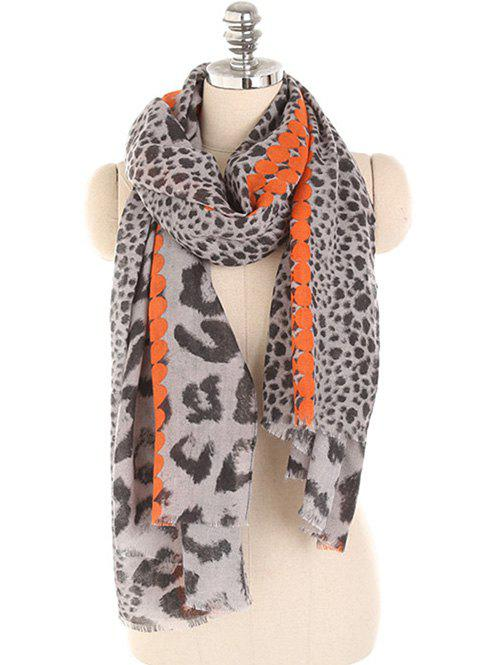 Winter Leopard Print Long Scarf - ORANGE