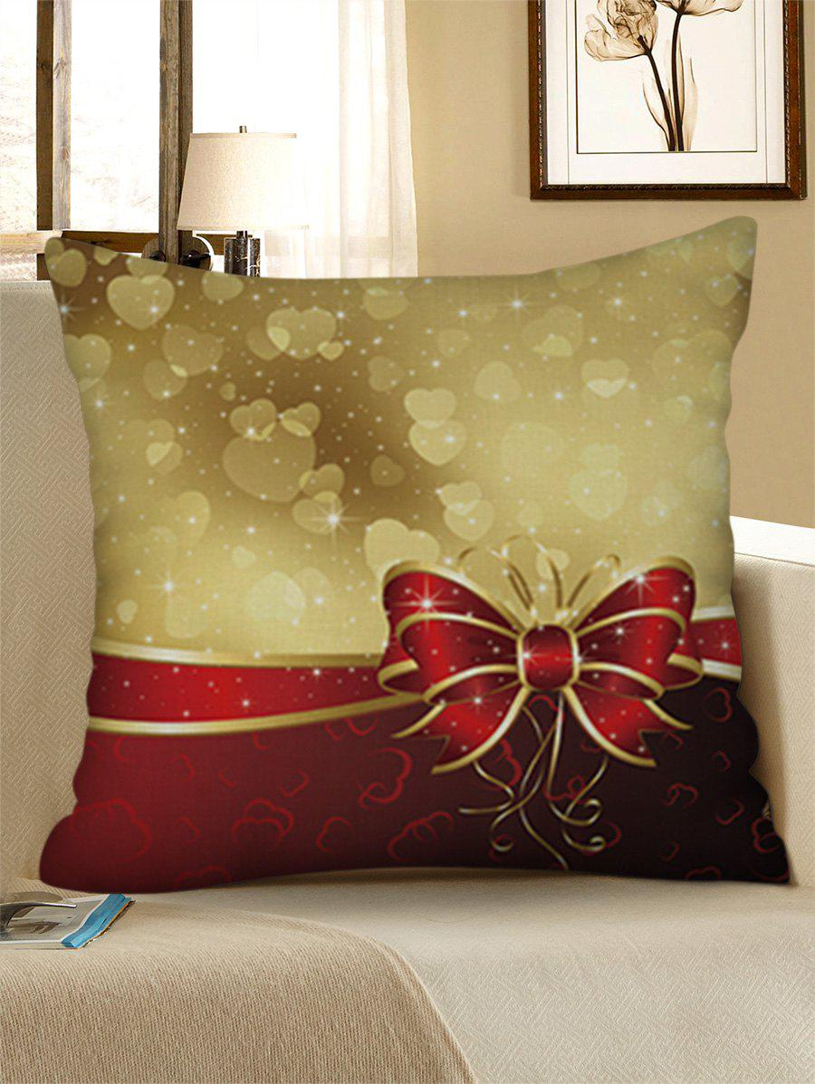 Love Heat Printed Christmas Bowknot Pattern Throw Pillow Case - GOLDEN BROWN W18 X L18 INCH