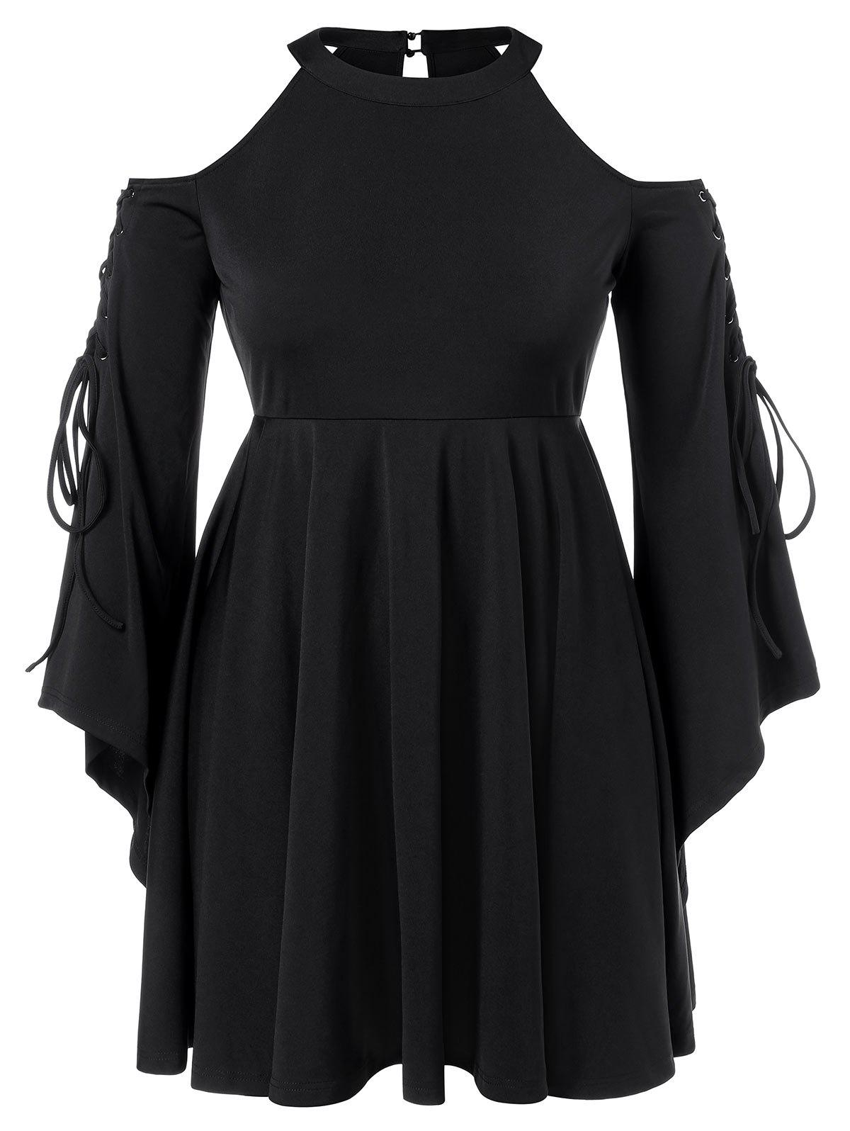 Plus Size Open Shoulder Lace Up High Waist Dress - BLACK L