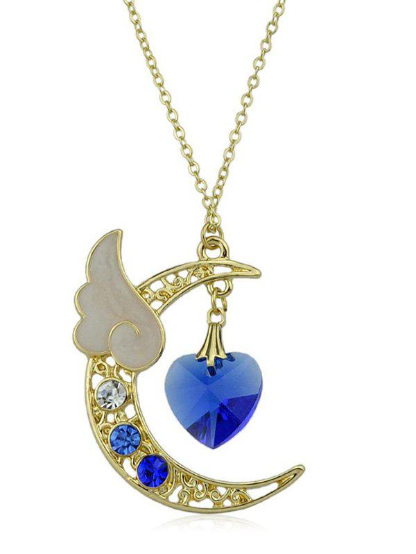 Artificial Crystal Heart Crescent Moon Pendant Chain Necklace - BLUE