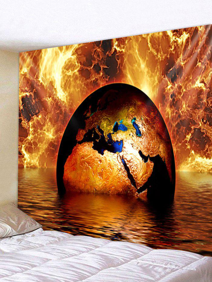 Fire and Water Earth Print Tapestry Wall Art - multicolor W79 X L71 INCH