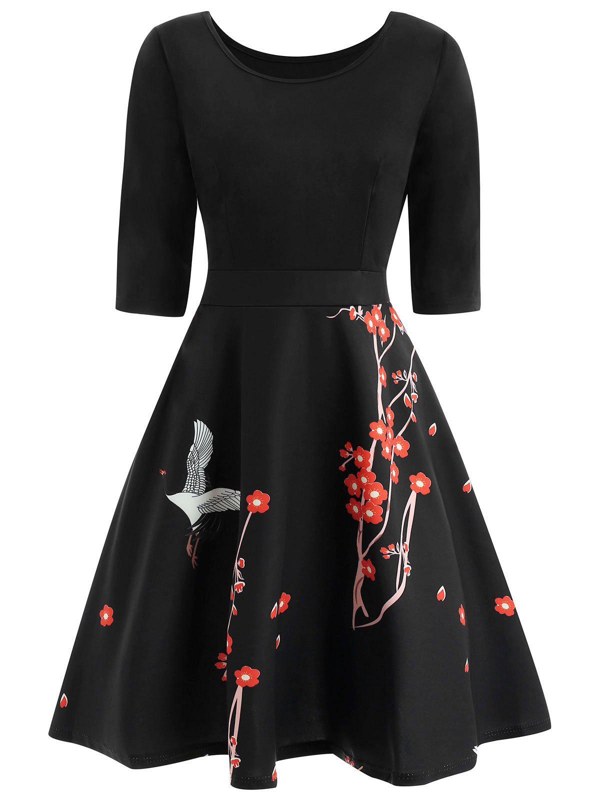 Wintersweet Print High Waist Vintage Dress - BLACK M