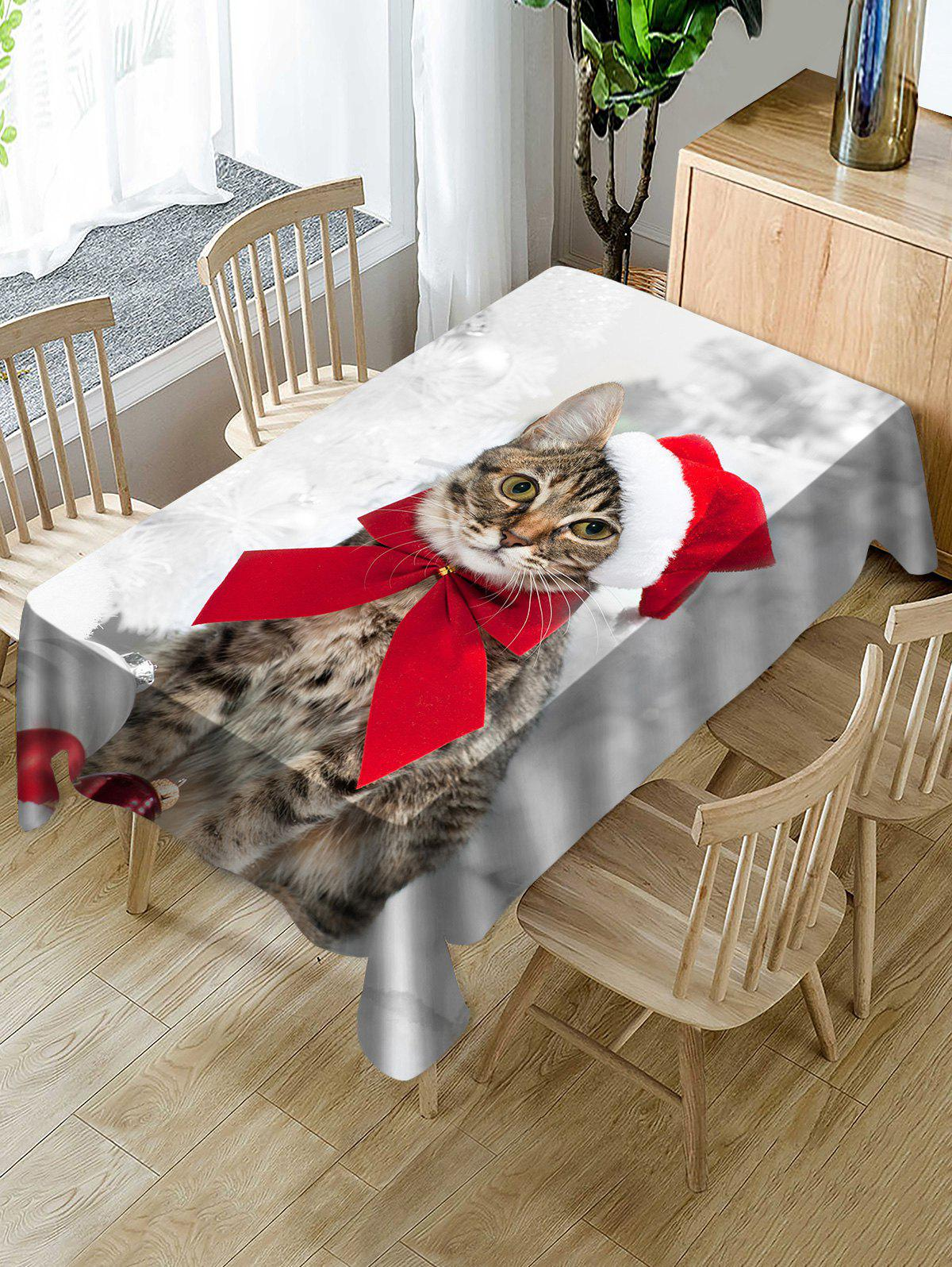 Christmas Cat Printed Kitchen Table Cloth - multicolor W60 X L84 INCH